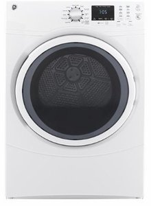 """GFD43GSSMWW GE 27"""" 7.5 cu. ft. Front Load Gas Dryer with Dura Drum Interior and Quick Dry - White"""