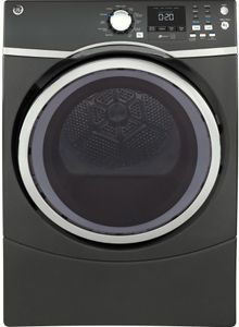 """GFD45ESPMDG GE 27"""" 7.5 cu. ft. Front Load Electric Dryer with Steam Dewrinkle and Quick Dry - Diamond Gray"""