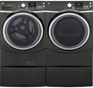 """GFD45GSPMDG GE 27"""" 7.5 cu. ft. Gas Dryer with 13 Dry Cycles and 4 Temperature Settings - Diamond Gray"""