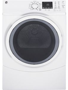 "GFD45GSSMWW GE 27"" 7.5 cu. ft. Gas Dryer with Steam and 4 Temperature Settings - White"