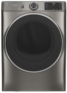 """GFD65GSPNSN GE 28"""" 7.8 cu. ft. Front Load Gas Dryer with Steam, Wifi and Sanitize Cycle - Satin Nickel"""