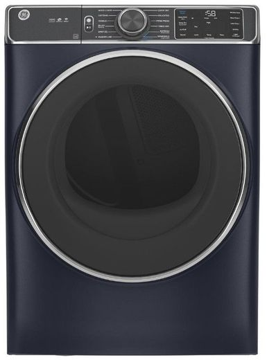 """GFD85GSPNRS GE 28"""" 7.8 cu. ft. Front Load Gas Dryer with PowerSteam and Built In Wifi - Royal Sapphire"""