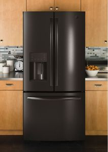 """GFE24JBLTS GE 33"""" 23.8 Cu. Ft. French Door Refrigerator with Exterior Ice & Water - Black Stainless Steel"""