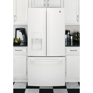 "GFE24JGKWW GE 33"" 23.8 Cu. Ft. French Door Refrigerator with Exterior Ice & Water - White"