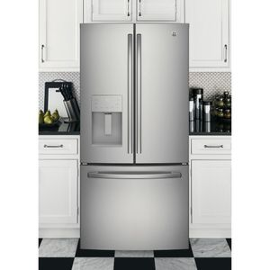 """GFE24JSKSS GE 33"""" 23.8 Cu. Ft. French Door Refrigerator with Exterior Ice & Water - Stainless Steel"""