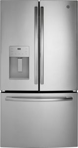 "GFE26JSMSS GE 36"" 25.5 Cu. Ft. French-Door Refrigerator with LED Lighting and Full-Width Deli Drawer - Stainless Steel"