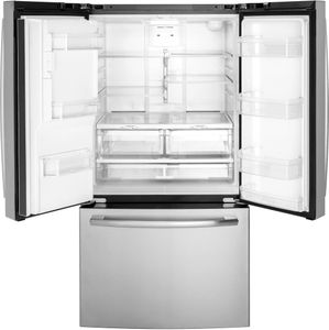 """GFE26JYMFS GE 36"""" 25.5 Cu. Ft. French-Door Refrigerator with LED Lighting and Full-Width Deli Drawer -  Fingerprint Resistant Stainless Steel"""