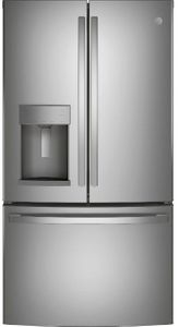 "GFE28GYNFS GE 36"" 27.7 Cu. Ft. French-Door Bottom Freezer Refrigerator with Showcase LED Lighting - Fingerprint Resistant Stainless Steel"
