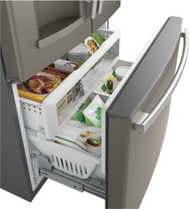 """GFE28HMKES GE 36"""" 27.8 Cu. Ft. French-Door Refrigerator with Showcase LED lighting and TwinChill Evaporators - Slate"""