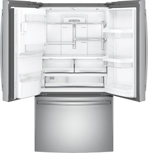 """GFE28HSKSS GE 36"""" 27.8 Cu. Ft. French-Door Refrigerator with Showcase LED lighting and TwinChill Evaporators - Stainless Steel"""