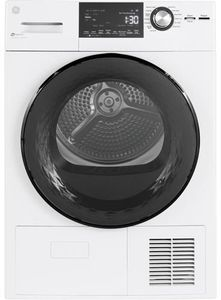 """GFT14ESSMWW GE 24"""" 4.1 cu. ft. Ventless Condenser Front Load Electric Dryer with HE Sensor Dry and Stainless Steel Drum - White"""