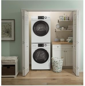 """GFW148SSMWW GE 24"""" Front Load Washer with Quick Wash and Internal Water Heater - White"""