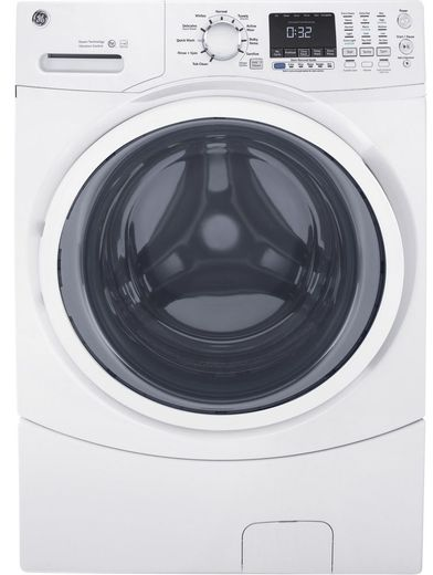 "GFW450SSMWW GE 27"" Front Load Washer with 10 Wash Cycles and 9 Wash Options - White"