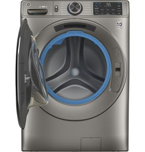 "GFW650SPNSN GE 28"" Front Load Steam Washer 4.8 Cu. Ft. with SmartDispense, WiFi, OdorBlock and Sanitize and Allergen - Satin Nickel"