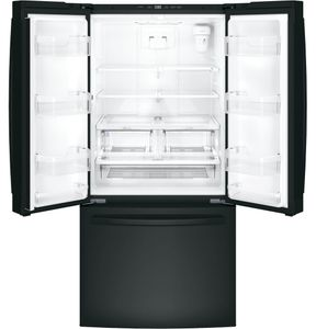 "GNE25JGKBB GE 33"" French Door 24.8 Cu. Ft. Refrigerator with Internal Water Dispenser - Black"