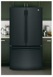 "GNE27JGMBB GE 36"" 27.0 Cu. Ft. French Door Refrigerator with LED Lighting and Turbo Cool Setting - Black"