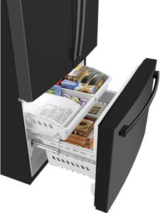 """GNE27JGMBB GE 36"""" 27.0 Cu. Ft. French Door Refrigerator with LED Lighting and Turbo Cool Setting - Black"""