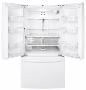 "GNE27JGMWW GE 36"" 27.0 Cu. Ft. French Door Refrigerator with LED Lighting and Turbo Cool Setting - White"