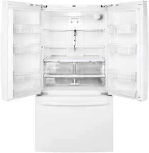 """GNE27JGMWW GE 36"""" 27.0 Cu. Ft. French Door Refrigerator with LED Lighting and Turbo Cool Setting - White"""