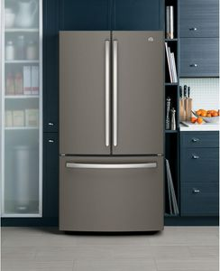 """GNE27JMMES GE 36"""" 27.0 Cu. Ft. French Door Refrigerator with LED Lighting and Turbo Cool Setting - Slate"""