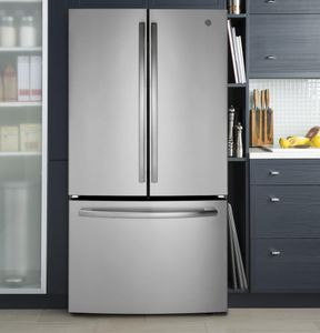 "GNE27JSMSS GE 36"" 27.0 Cu. Ft. French Door Refrigerator with LED Lighting and Turbo Cool Setting - Stainless Steel"