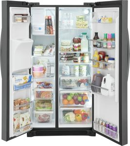 """GRSC2352AD Frigidaire Gallery 36"""" 22.2 Cu. Ft. Counter Depth Side by Side Refrigerator - Smudge-Proof Black Stainless Steel"""