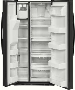 """GSE23GGKBB GE 33"""" 23.2 cu. ft. Total Capacity Side-by-Side Refrigerator with Humidity-Controlled Produce Drawers and Adjustable Spill Proof Shelves - Black"""