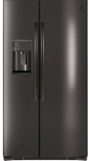 GSE25HBLTS GE Energy Star 25.4 Cu. Ft. Side-By-Side Refrigerator with Hidden Hinges - Black Stainless Steel