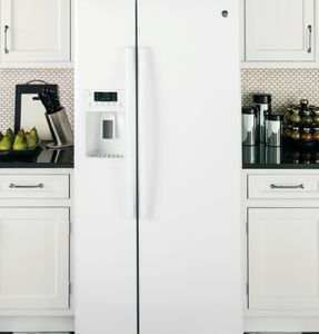 "GSS23GGKWW 33"" GE  23.2 Cu. Ft. Side-By-Side Refrigerator with Ice Maker and Adjustable Gallon Door Bins - White"