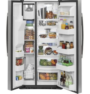 """GSS23GSKSS 33"""" GE  23.2 Cu. Ft. Side-By-Side Refrigerator with Ice Maker and Adjustable Gallon Door Bins - Stainless Steel"""