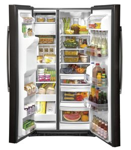 """GSS25IBNTS GE 36"""" Side-By-Side Refrigerator with Glass Freezer Shelves and Color Match Dispenser - Black Stainless Steel"""