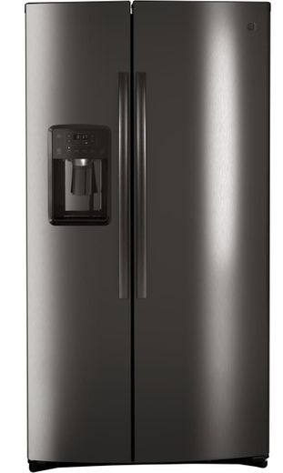 "GSS25IBNTS GE 36"" Side-By-Side Refrigerator with Glass Freezer Shelves and Color Match Dispenser - Black Stainless Steel"