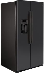 "GSS25IENDS GE 36"" Side-By-Side Refrigerator with Glass Freezer Shelves and Color Match Dispenser - Black Slate"