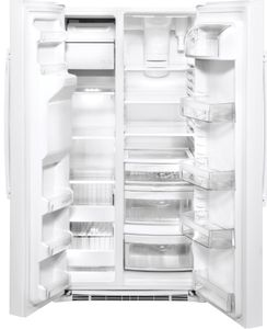 """GSS25IGNWW GE 36"""" Side-By-Side Refrigerator with Glass Freezer Shelves and Color Match Dispenser - White"""