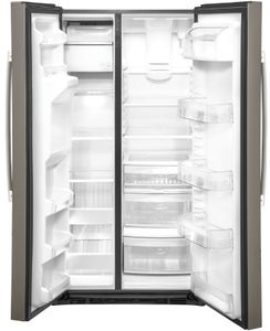 "GSS25IMNES GE 36"" Side-By-Side Refrigerator with Glass Freezer Shelves and Color Match Dispenser - Slate"