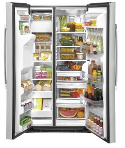 """GSS25IYNFS GE 36"""" Side-By-Side Refrigerator with Glass Freezer Shelves and Color Match Dispenser - Fingerprint Resistant Stainless Steel"""