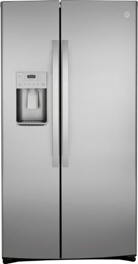 "GSS25IYNFS GE 36"" Side-By-Side Refrigerator with Glass Freezer Shelves and Color Match Dispenser - Fingerprint Resistant Stainless Steel"