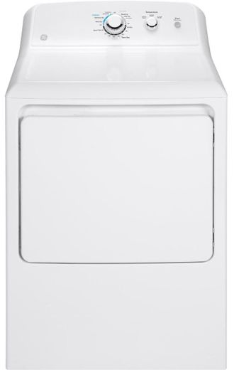"GTD33GASKWW GE 27"" Front Load Gas Dryer with 7.2 cu. ft. Capacity and Aluminnized Alloy Drum - White"