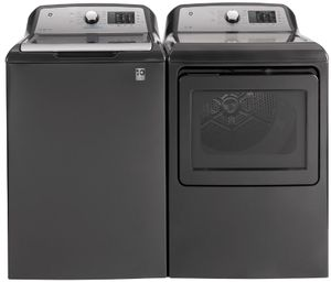 "GTD72GBPNDG GE 27"" Front-Load 7.4 cu. ft. Capacity Gas Dryer with HE Sensor Dry and Wrinkle Care - Diamond Gray"