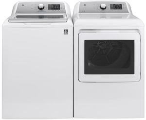 """GTD72GBSNWS GE 27"""" Front-Load 7.4 cu. ft. Capacity Gas Dryer with HE Sensor Dry and Wrinkle Care - White"""
