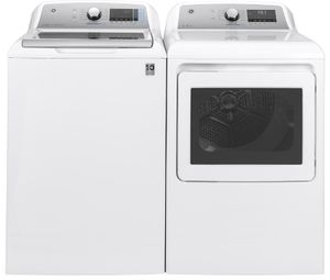 """GTD84ECSNWS GE 27"""" Front-Load 7.4 cu. ft. Capacity Electric Dryer with HE Sensor Dry and Built In Wifi - White"""
