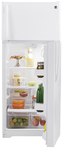 GTS18GTHWW GE 17.5 Cu. Ft. Top Freezer Refrigerator with Adjustable Spillproof Glass Shelves and Upfront Temperature Controls - White