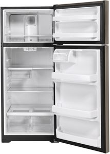 """GTS18HMNRES GE 28"""" Top-Freezer Refrigerator with LED Lighting and Upfront Temperature Controls - Slate"""