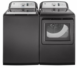 """GTW755CPMDG GE 27"""" Top Load 4.9 cu. ft. Capacity Washer with Dual Action Agitator and SmartDispense Technology - Diamond Gray"""