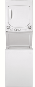 """GUD24GSSMWW GE 24"""" Laundry Center with Washer and 4.4 cu ft. Gas Dryer with Rotary Electronic Controls and 11 Wash Cycles - White"""