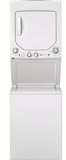 "GUD24GSSMWW GE 24"" Laundry Center with Washer and 4.4 cu ft. Gas Dryer with Rotary Electronic Controls and 11 Wash Cycles - White"