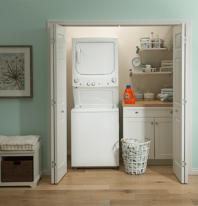 """GUD27ESSMWW GE 27"""" Laundry Center with Washer and 5.9 cu ft. Electric Dryer with Rotary Electronic Controls and 11 Wash Cycles - White"""