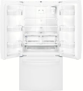 """GWE19JGLWW GE 33"""" 18.6 Cu. Ft. Counter-Depth French Door Refrigerator with Turbo Cool Setting and Quick Space Shelf - White"""