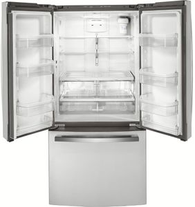"""GWE19JSLSS GE 33"""" 18.6 Cu. Ft. Counter-Depth French Door Refrigerator with Turbo Cool Setting and Quick Space Shelf - Stainless Steel"""