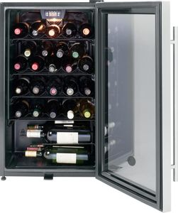 "GWS04HAESS 19"" GE Free Standing  Wine Center with Interior Lighting and 30 Bottle Capacity - Stainless Steel"